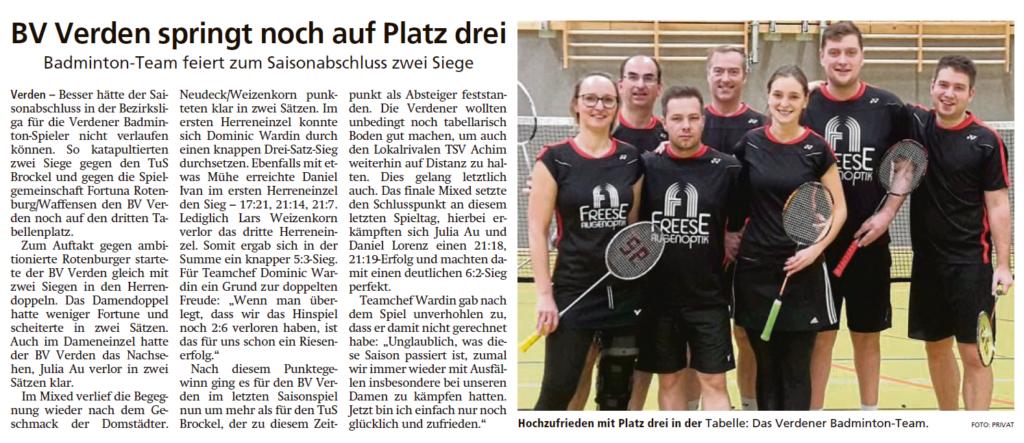 Bericht der Verdener Aller-Zeitung vom 18.03.2020